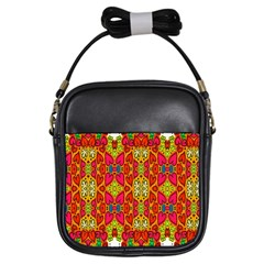 Abstract Background Design With Doodle Hearts Girls Sling Bags