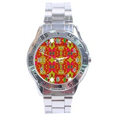 Abstract Background Design With Doodle Hearts Stainless Steel Analogue Watch