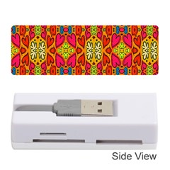 Abstract Background Design With Doodle Hearts Memory Card Reader (stick)