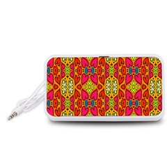Abstract Background Design With Doodle Hearts Portable Speaker (White)