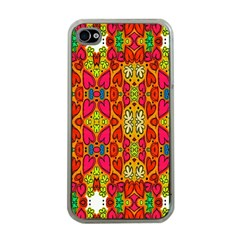 Abstract Background Design With Doodle Hearts Apple iPhone 4 Case (Clear)