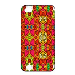 Abstract Background Design With Doodle Hearts Apple Iphone 4/4s Seamless Case (black)