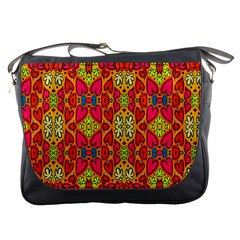 Abstract Background Design With Doodle Hearts Messenger Bags