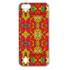 Abstract Background Design With Doodle Hearts Apple Seamless iPhone 5 Case (Clear)