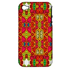 Abstract Background Design With Doodle Hearts Apple iPhone 4/4S Hardshell Case (PC+Silicone)