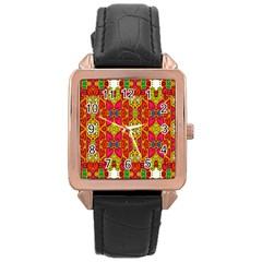 Abstract Background Design With Doodle Hearts Rose Gold Leather Watch