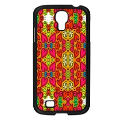 Abstract Background Design With Doodle Hearts Samsung Galaxy S4 I9500/ I9505 Case (Black)