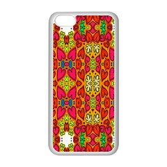 Abstract Background Design With Doodle Hearts Apple iPhone 5C Seamless Case (White)