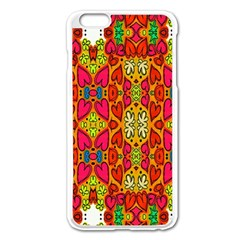 Abstract Background Design With Doodle Hearts Apple iPhone 6 Plus/6S Plus Enamel White Case