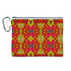 Abstract Background Design With Doodle Hearts Canvas Cosmetic Bag (l)