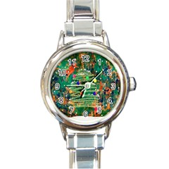 Watercolour Christmas Tree Painting Round Italian Charm Watch