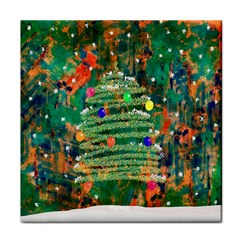 Watercolour Christmas Tree Painting Tile Coasters