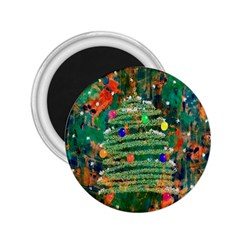 Watercolour Christmas Tree Painting 2 25  Magnets