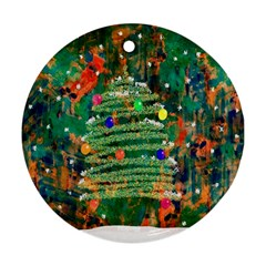 Watercolour Christmas Tree Painting Ornament (round)