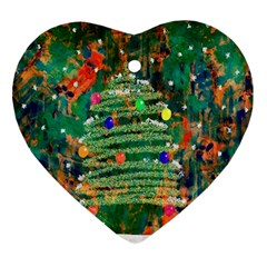 Watercolour Christmas Tree Painting Ornament (heart)