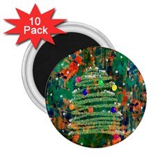 Watercolour Christmas Tree Painting 2 25  Magnets (10 Pack)