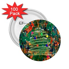 Watercolour Christmas Tree Painting 2 25  Buttons (100 Pack)