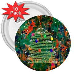 Watercolour Christmas Tree Painting 3  Buttons (10 Pack)