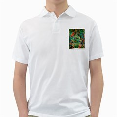 Watercolour Christmas Tree Painting Golf Shirts