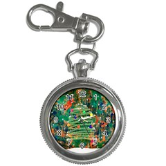 Watercolour Christmas Tree Painting Key Chain Watches