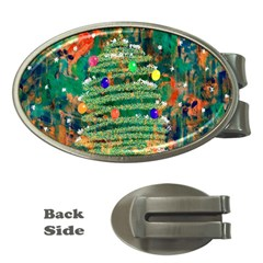 Watercolour Christmas Tree Painting Money Clips (oval)