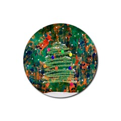 Watercolour Christmas Tree Painting Rubber Coaster (Round)