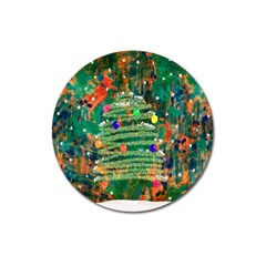 Watercolour Christmas Tree Painting Magnet 3  (Round)