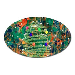 Watercolour Christmas Tree Painting Oval Magnet