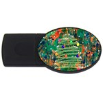 Watercolour Christmas Tree Painting USB Flash Drive Oval (4 GB) Front