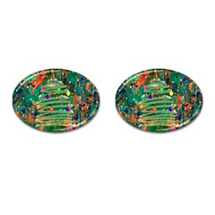 Watercolour Christmas Tree Painting Cufflinks (Oval)