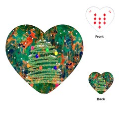 Watercolour Christmas Tree Painting Playing Cards (Heart)