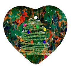 Watercolour Christmas Tree Painting Heart Ornament (two Sides)