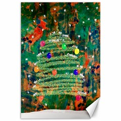 Watercolour Christmas Tree Painting Canvas 12  X 18