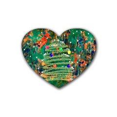 Watercolour Christmas Tree Painting Rubber Coaster (heart)