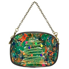Watercolour Christmas Tree Painting Chain Purses (two Sides)