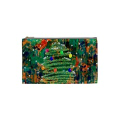 Watercolour Christmas Tree Painting Cosmetic Bag (small)