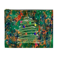 Watercolour Christmas Tree Painting Cosmetic Bag (xl)