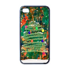 Watercolour Christmas Tree Painting Apple Iphone 4 Case (black)