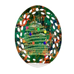 Watercolour Christmas Tree Painting Ornament (Oval Filigree)