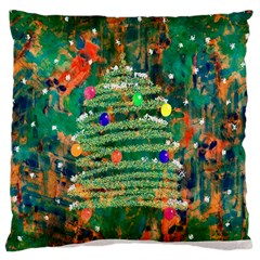 Watercolour Christmas Tree Painting Large Cushion Case (Two Sides)