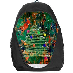 Watercolour Christmas Tree Painting Backpack Bag