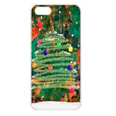 Watercolour Christmas Tree Painting Apple iPhone 5 Seamless Case (White)