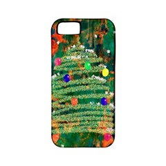 Watercolour Christmas Tree Painting Apple iPhone 5 Classic Hardshell Case (PC+Silicone)