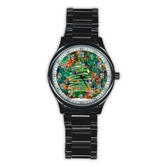 Watercolour Christmas Tree Painting Stainless Steel Round Watch