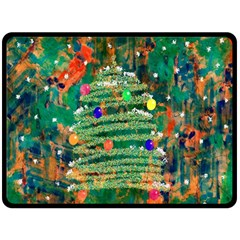 Watercolour Christmas Tree Painting Double Sided Fleece Blanket (large)
