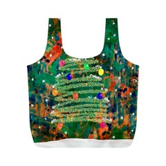 Watercolour Christmas Tree Painting Full Print Recycle Bags (m)
