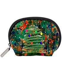 Watercolour Christmas Tree Painting Accessory Pouches (Small)