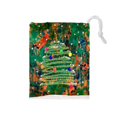 Watercolour Christmas Tree Painting Drawstring Pouches (Medium)
