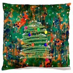 Watercolour Christmas Tree Painting Large Flano Cushion Case (Two Sides)