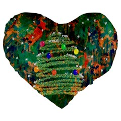 Watercolour Christmas Tree Painting Large 19  Premium Flano Heart Shape Cushions